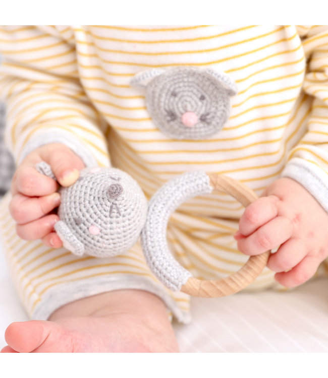 CROCHET MOUSE RING RATTLE