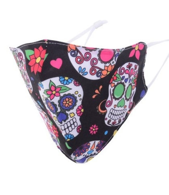MASKIT FACE MASK - DAY OF THE DEAD-BLACK