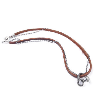 WRENCHED RING LEATHER NECKLACE