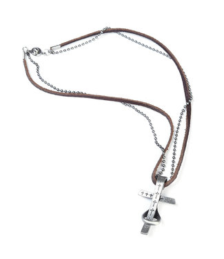 HINGED CROSS LEATHER NECKLACE