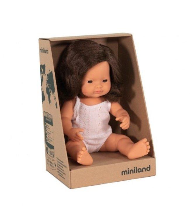 MINILAND BABY DOLL - CAUCASIAN GIRL-BRUNETTE  38CM