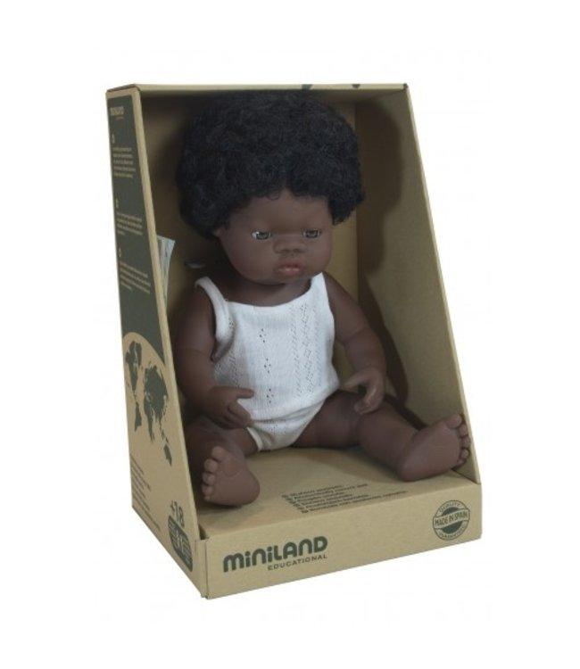 MINILAND BABY DOLL - AFRICAN GIRL 38CM