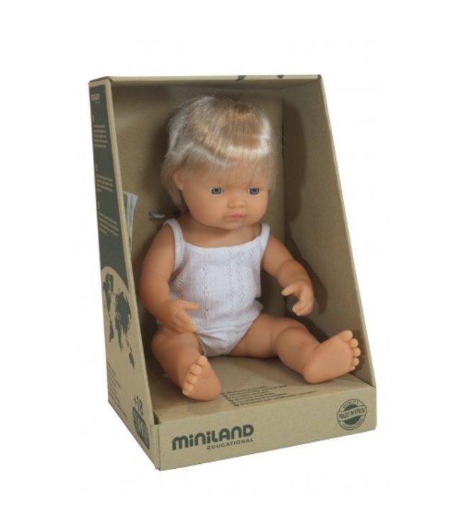 MINILAND BABY DOLL - CAUCASIAN BOY 38CM