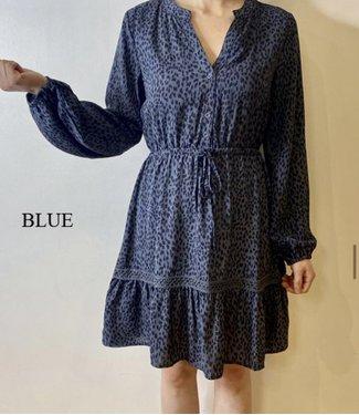 DESIREE BLUE LEOPARD DRESS