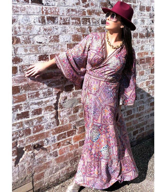 ANTONIA MAXI WRAP DRESS - ORANGE & GOLD