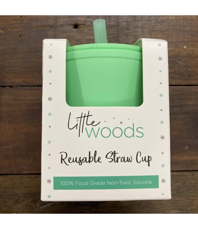 LITTLE WOODS SILICONE CUP WITH STRAW - MINT