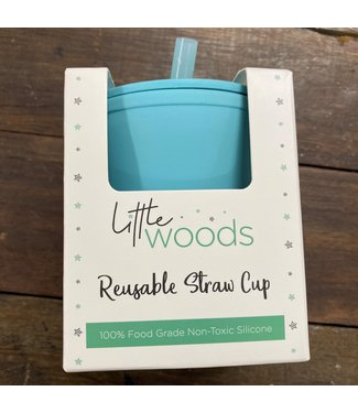 LITTLE WOODS SILICONE CUP WITH STRAW - BLUE