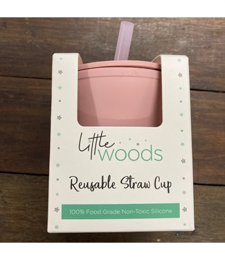 LITTLE WOODS SILICONE CUP WITH STRAW - PINK
