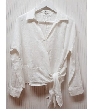 VALERIA GUS LINEN SHIRT - WHITE