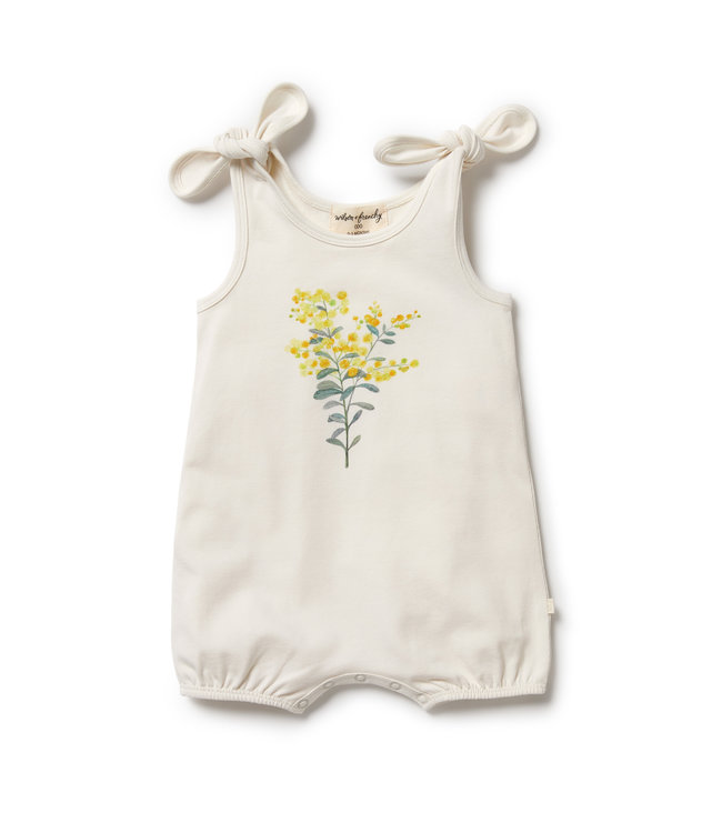 WILSON AND FRENCHY LITTLE BLOSSOM ORGANIC TIE PLAYSUIT
