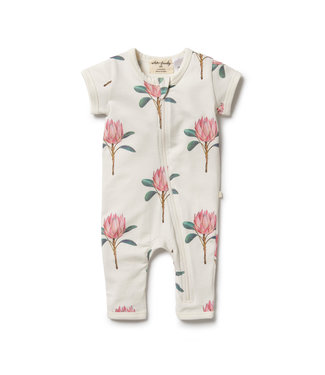 WILSON AND FRENCHY PRETTY PROTEA ORGANIC ZIPSUIT