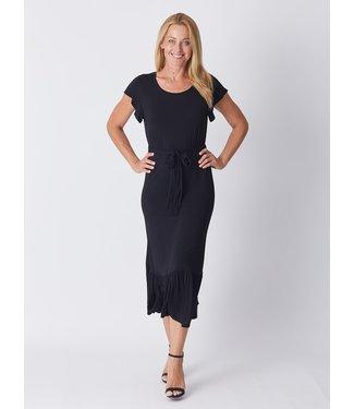LUNA SKY FLUTTER DRESS - BLACK