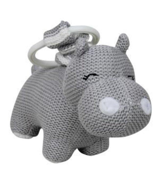KNITTED HIPPO PRAM TOY - GREY