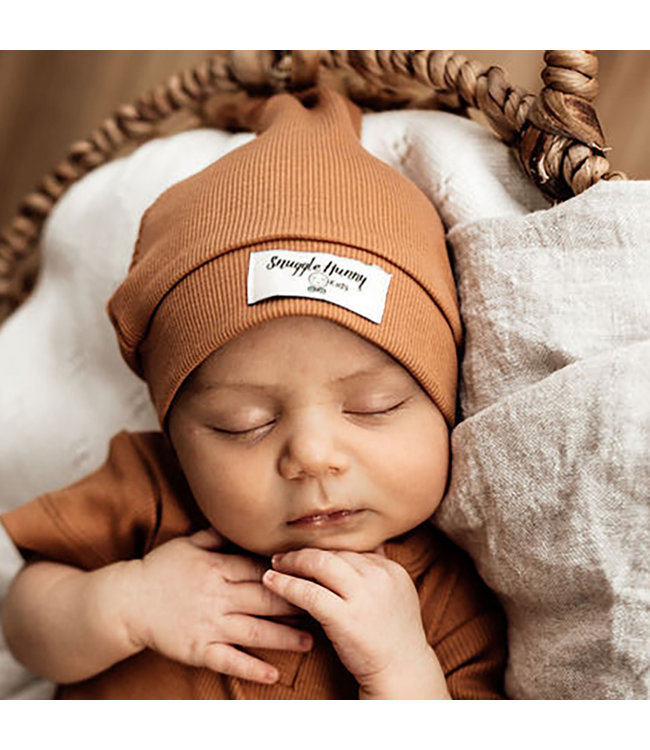 SNUGGLE HUNNY KIDS CHESTNUT RIBBED KNOTTED BEANIE