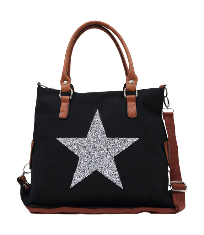 STAR POWER CANVAS BAG - BLACK
