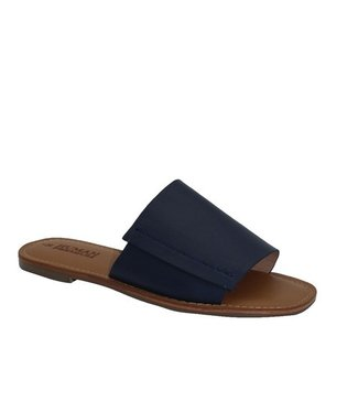 HUMAN SHOES OATS LEATHER SLIDE - NAVY