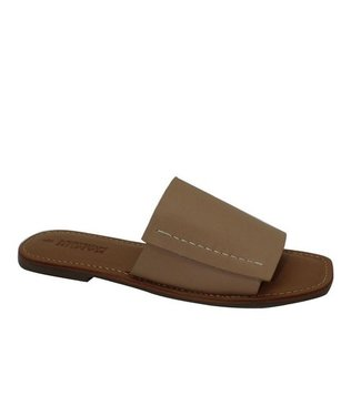 HUMAN SHOES OATS LEATHER SLIDE - NATURAL