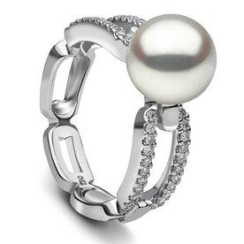 White Gold Diamond Pearl Ring