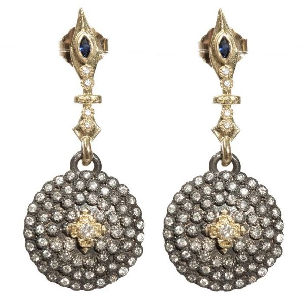 Armenta EARRING Size 0 Midnight small round shield earrings with white diamonds and blue sapphires on pointed top.