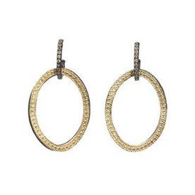 Armenta EARRING Size 0 MN/YG open circle-link drop earrings on champagne diamond huggie.