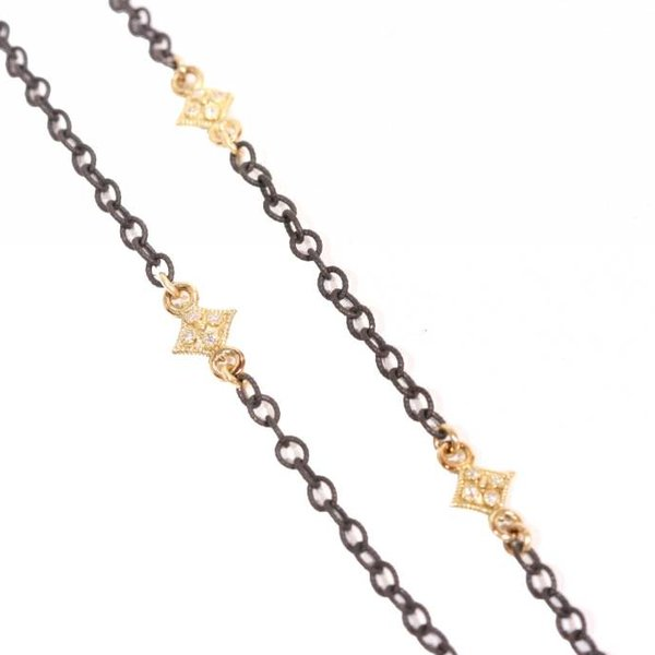 """Armenta Necklace Size 16 16"""" MN Heraldry cable chain w/ cravelli stations with white diamonds."""