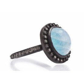Armenta RING Size 6.5 Old World Midnight oval Blue Turquoise/Rainbow Moonstone doublet ring on diamond eternity band.