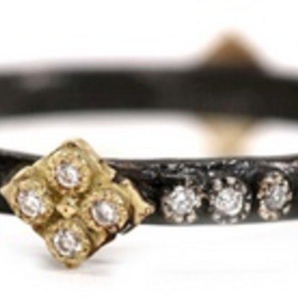 Armenta RING Size 6.5 Sm MN diamond stack ring w/ YG Cravelli crosses.