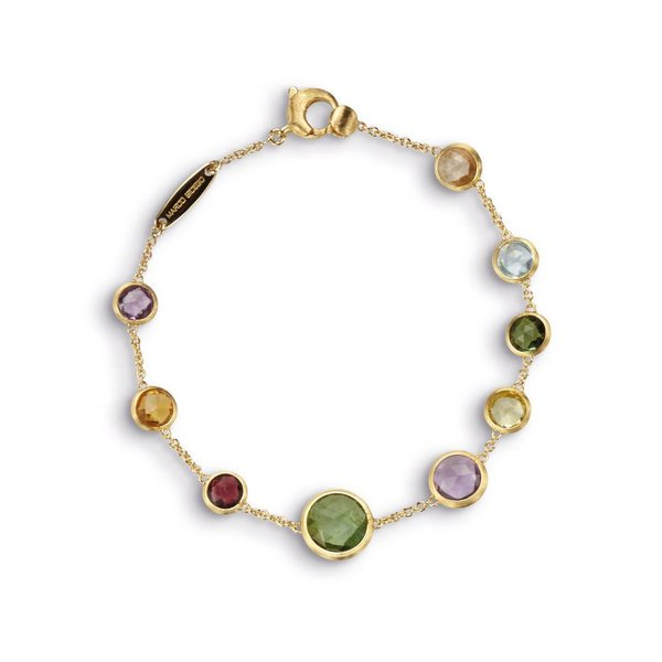 MARCO BICEGO 18k hand engraved bracelet with multicolored rose cut cushion stones.