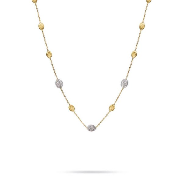 MARCO BICEGO 18k hand engraved yellow gold necklace with 0.6 carats of brilliant cut diamonds.