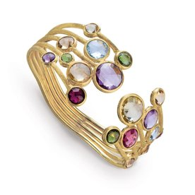 MARCO BICEGO 18K Yellow Gold & Mixed Gemstones Five Row Bangle