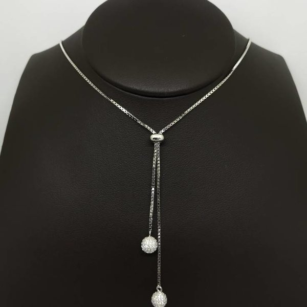 "24"" Silver Ball Lariat"
