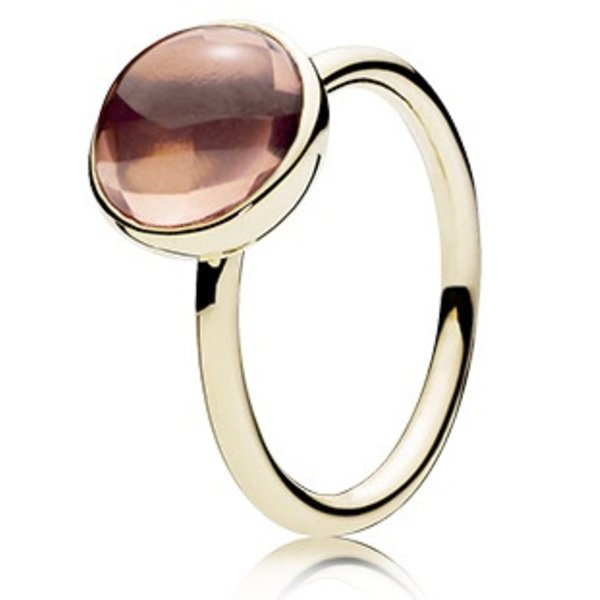 Pandora Blush Pink Poetic Droplet Gold Ring, Size 4.5