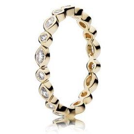 Pandora Alluring Brilliant Marquise Gold Ring, Size 7.5