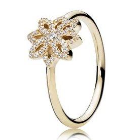 Pandora Lace Botanique Gold Ring, Size 7.5