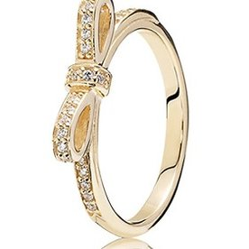 Pandora Sparkling Bow, Gold Ring, Size 4.5