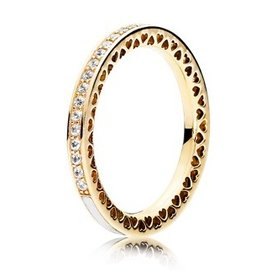 Pandora Radiant Hearts of Pandora Gold Ring w/ Enamel, Size 5
