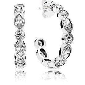 Pandora Alluring Briliant Marquise Hoop Earrings