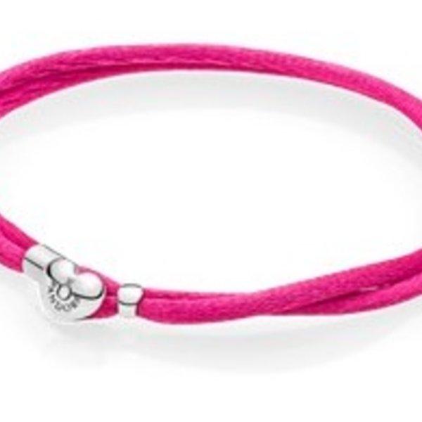 Pandora Hot Pink Fabric Cord Bracelet, Size 1
