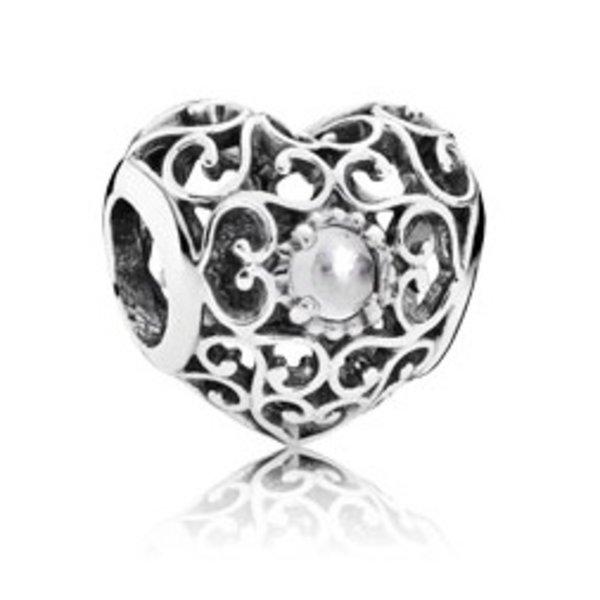 Pandora April Signature Heart Charm