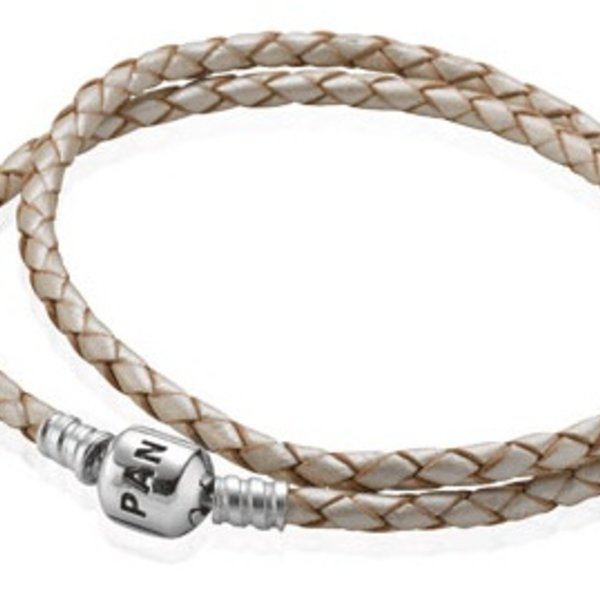 Pandora Champagne Leather Bracelet, 16.1in