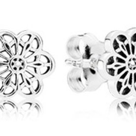Pandora Floral Daisy Lace Stud Earrings