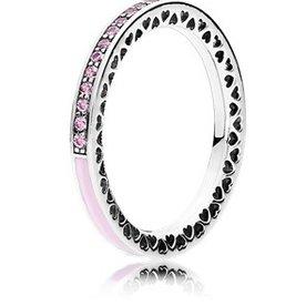 Pandora Radiant Hearts of Pandora Pink Ring, Size 7.5