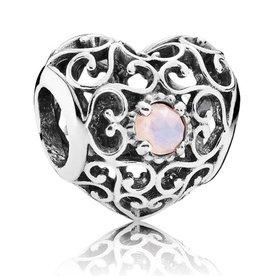 Pandora October Signature Heart Charm