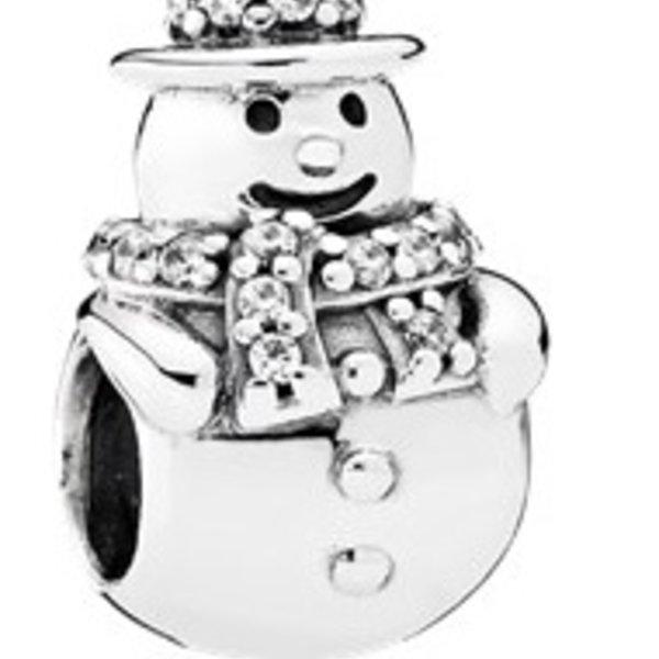 Pandora Snowman with Clear CZ Charm