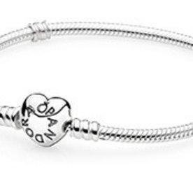 Pandora Heart Clasp Bracelet, Size 17