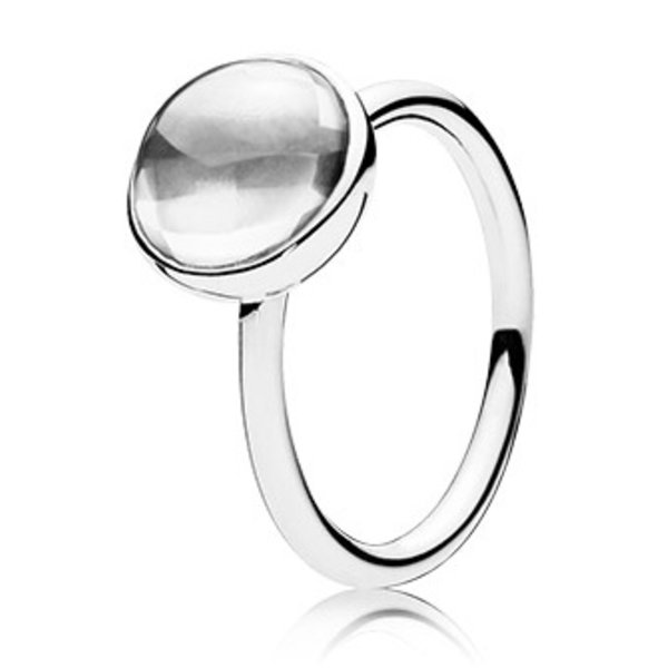 Pandora Clear Poetic Droplet Ring, Size 5