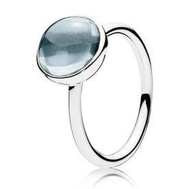 Pandora Aqua Blue Poetic Droplet Ring, Size 8.5