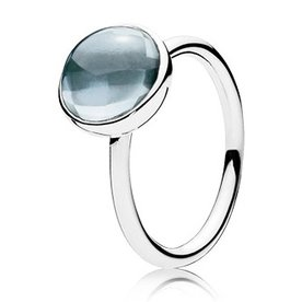 Pandora Aqua Blue Poetic Droplet Ring, Size 9