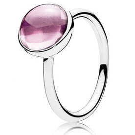 Pandora Pink Poetic Droplet Ring, Size 5