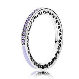 Pandora Radiant Hearts of Pandora Lavender Ring, Size 6